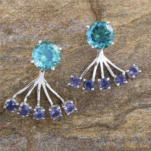 Peacock Quartz (Rnd), Iolite Jacket Earrings (with Push Back) in Platinum Overlay Sterling Silver 9.750 Ct.