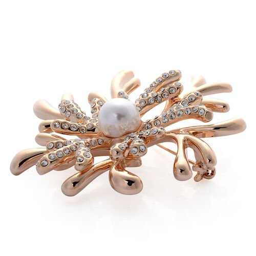 Simulated White Pearl and White Austrian Crystal Brooch in Gold Tone