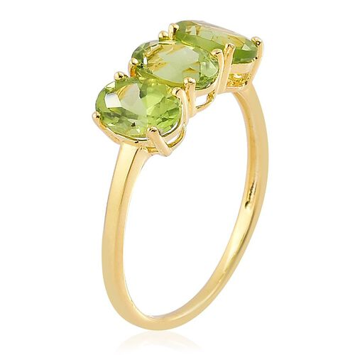 AA Hebei Peridot (Ovl) Trilogy Ring in Yellow Gold Overlay Sterling Silver 2.500 Ct.