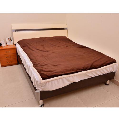 Superfine Microfibre Flannel reversible Sherpa Blanket Dark Chocolate and Cream Colour (Size 200x150 Cm)