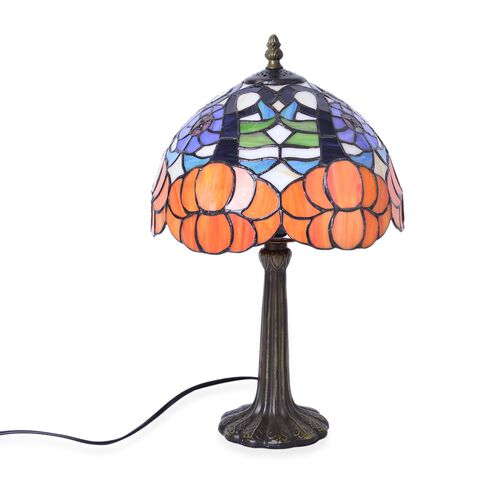 Luxury Edition - Tiffany Style Table Lamp with Stained Glass Mosaic Shade in Art Deco Style (Size 25 cm diameter)