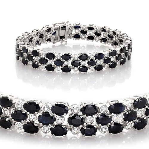 Midnight Blue Sapphire (Ovl), White Topaz Bracelet in Platinum Overlay Sterling Silver (Size 8) 31.000 Ct.