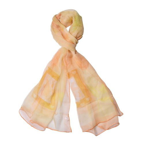 40% Mulberry Silk Orange, Yellow and Multi Colour Flowers and Leaves Pattern Scarf (Size 170X105 Cm)