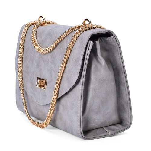 Diamond Pattern Sky Grey Colour Handbag with Chain Strap (Size 22.5x17x8.5 Cm)