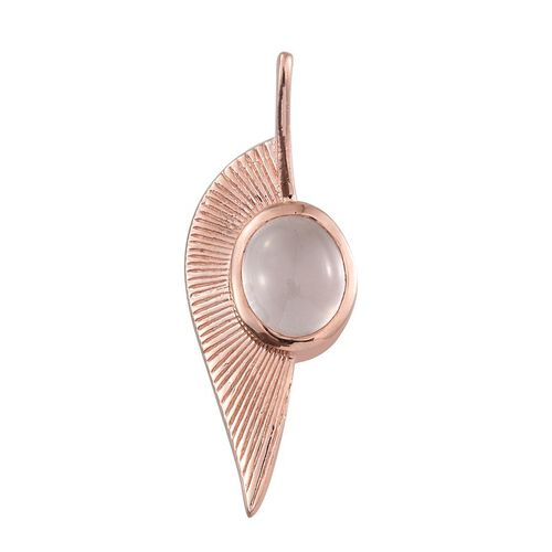 Rose Quartz (Ovl) Leaf Pendant in Rose Gold Overlay Sterling Silver 3.250 Ct.