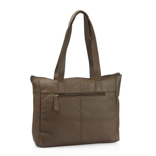 Set of Two 100% Genuine Leather Bird Design Dark Grey Colour Handbag (Size 35X28X10 Cm) with RFID Pouch (Size 20X12 Cm)