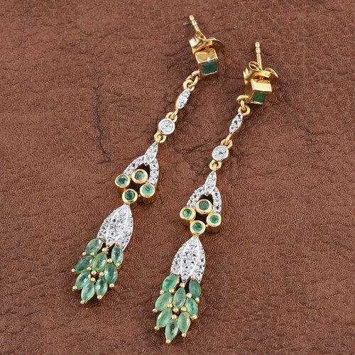 Kagem Zambian Emerald (Sqr), White Topaz Earrings (with Push Back) in 14K Gold Overlay Sterling Silver 2.000 Ct.