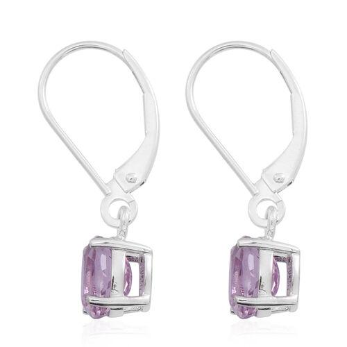 9K W Gold AAA Urucum Kunzite (Ovl) Lever Back Earrings 2.250 Ct.