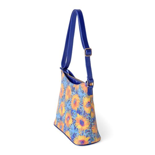 Summer Special - Multi Colour and Sunflower Pattern Digital Printed Shoulder Bag (Size 28.5x28.5x14 Cm)