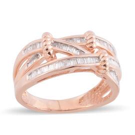 14K Rose Gold Diamond (Bgt) Ring 0.500 Ct, Gold wt 5.00 Gms.