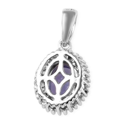 1.10 Ct AA Tanzanite and Diamond Halo Pendant in 9K White Gold