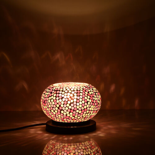 New Arrival - Handcrafted White and Multi Colour Polka Dots Mosaic Electric Lamp with NATURAL HIMALAYAN ROCK SALT