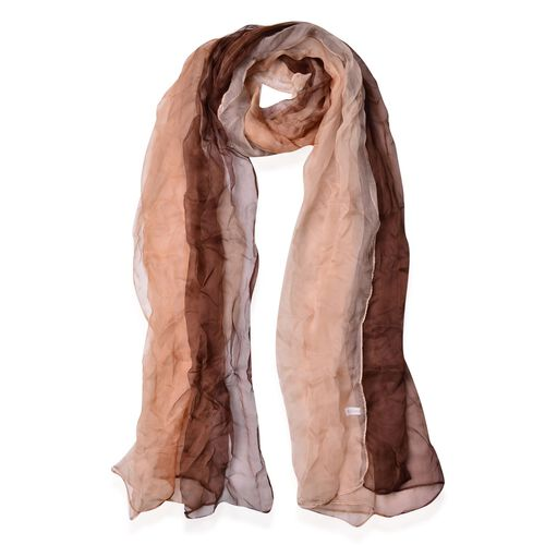 100% Mulberry Silk Gradually Changing Colour Dark and Light Coffee Colour Scarf (Size 180x70 Cm)