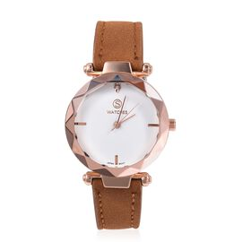 STRADA Japanese Movement White Austrian Crystal Studded Water Resistant Watch in Rose Gold Tone with Camel Colour Strap.