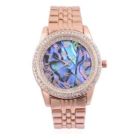 GENOA Japanese Movement Abalone Shell Dial with White Austrian Crystal Water Resistant Watch in Rose Gold Tone with Stainless Steel Back