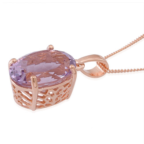 Rose De France Amethyst (Ovl) Solitaire Pendant With Chain in 14K Rose Gold Overlay Sterling Silver 5.000 Ct.
