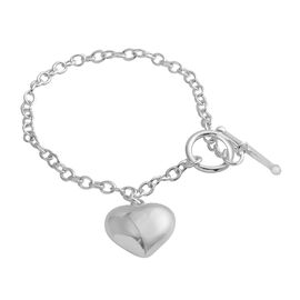 Sterling Silver Bracelet (Size 7.5) with Heart Charm, Silver wt 8.50 Gms.