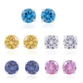 Set of 5-ELANZA AAA Simulated Yellow, Blue, Pink, White Diamond and Simulated Tanzanite Earrings (with Push Back) in Rhodium Plated Sterling Silver