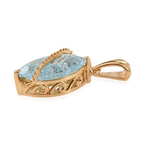 Paraiba Blue Crackled Quartz (Mrq) Solitaire Pendant in 14K Gold Overlay Sterling Silver 3.750 Ct.