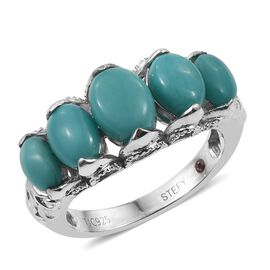 Stefy Sonoran Turquoise (Ovl 1.00 Ct), Pink Sapphire Ring in Platinum Overlay Sterling Silver 3.750 Ct.