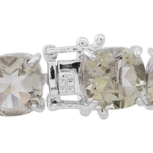 Green Amethyst (Cush) Bracelet (Size 7.5) in Rhodium Plated Sterling Silver 65.000 Ct.