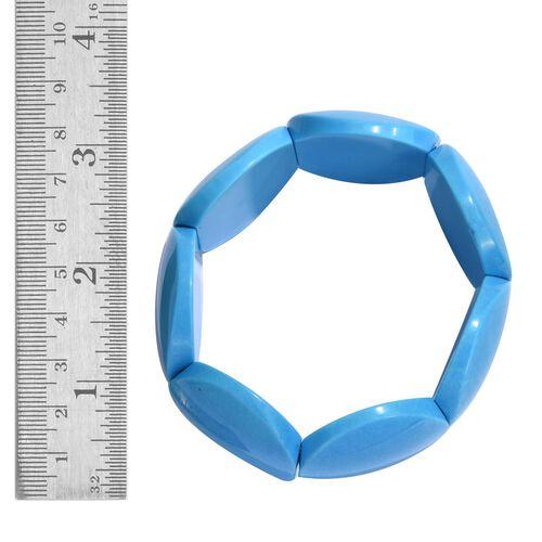 Blue Howlite Stretchable Bracelet (Size 7.5) 551.250 Ct.