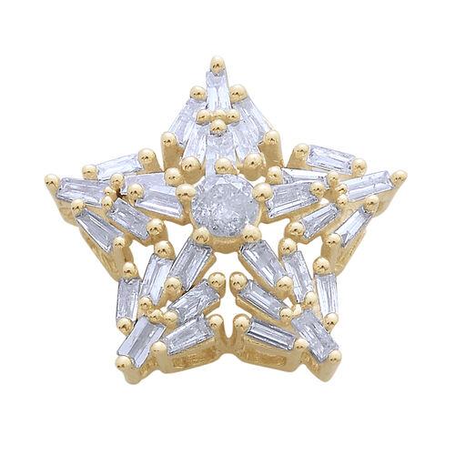 9K Y Gold SGL Certified Diamond (Rnd) (I3/G-H) Starburst Pendant 0.500 Ct.
