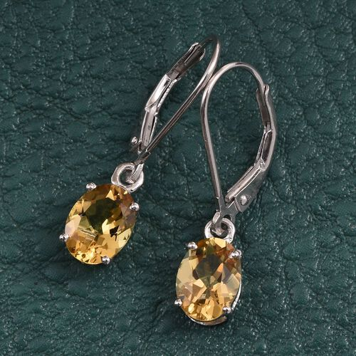 Marialite (Ovl) Lever Back Earrings in Platinum Overlay Sterling Silver 2.000 Ct.
