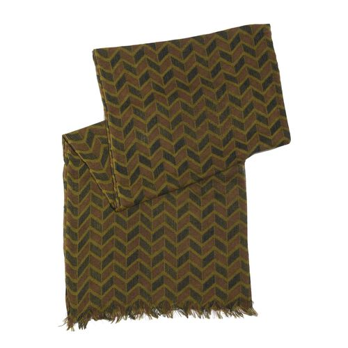 100% Merino Wool Chocolate, Green and Multi Colour Chevron Pattern Scarf (Size 180x70 Cm)