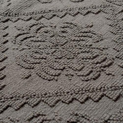 Bath Collection - 100% Cotton Grey Colour Geometrical Design Sculpted Bath Mat (Size 80X50 Cm)