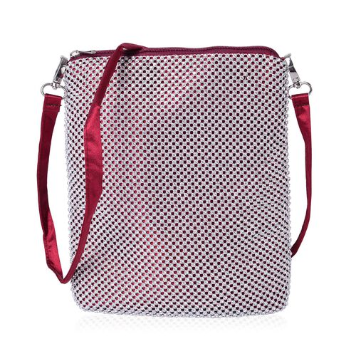 White Austrian Crystals Embellished Red Wine Colour Crossbody Bag (Size 26X22 Cm) with Removable Shoulder Strap