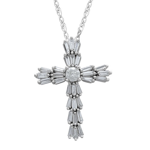 9K White Gold 0.50 Ct Diamond Cross Pendant With Chain SGL Certified (I3/G-H)