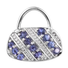 Mothers Day Deal-Tanzanite (Rnd) Handbag Design Pendant in Platinum Overlay Sterling Silver 1.000 Ct.