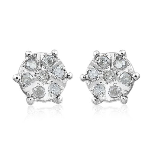 Diamond (Rnd) Stud Earrings (with Push Back) in Platinum Overlay Sterling Silver 0.100 Ct.