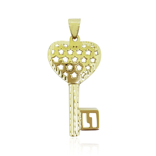 9K Y Gold Enchanting Love Heart Key Pendant