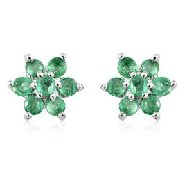 Kagem Zambian Emerald (Rnd) Flower Stud Earrings (with Push Back) in Platinum Overlay Sterling Silver 0.750 Ct.