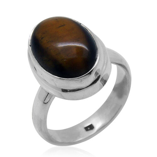 Royal Bali Collection Tigers Eye (Ovl) Solitaire Ring in Sterling Silver 5.930 Ct.