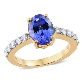 ILIANA 18K Yellow Gold AAA Tanzanite (Ovl 3.05 Ct), Diamond (SI/G-H) Ring 3.750 Ct.