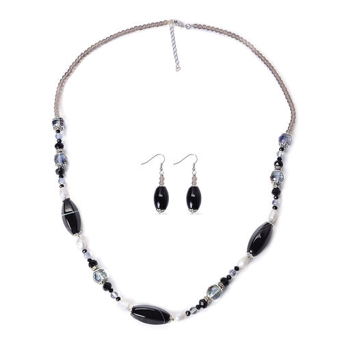 Dyed Black Agate, White Austrian Crystal, Fresh Water White Pearl, Simulated Multi Colour Diamond Necklace (Size 28) and Hook Earrings in Stainless Steel 420.00 Ct.
