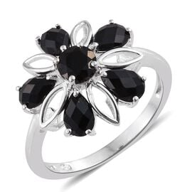 Black Onyx (Rnd) Floral Ring in Sterling Silver 1.750 Ct.