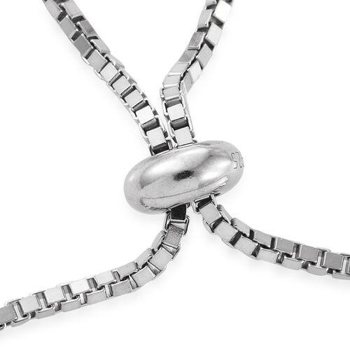 Diamond (Rnd) Adjustable Halo Bracelet (Size 6.5 - 9) in Platinum Overlay Sterling Silver 0.250 Ct.