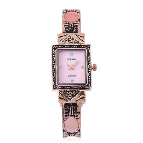 STRADA Japanese Movement Pink MOP Dial Water Resistant Bangle Watch with White Austrian Crystal in Rose Gold Tone