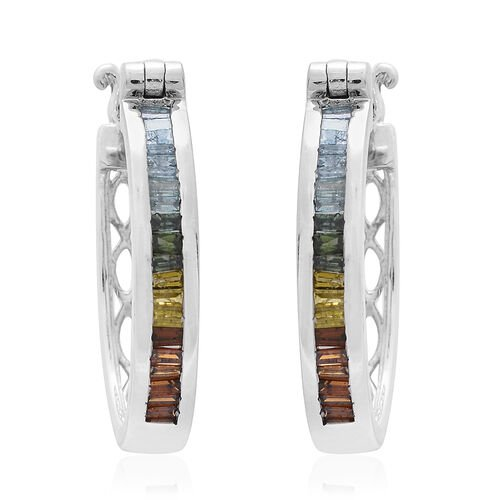 Multi Colour Diamond (Bgt) Hoop Earrings (with Clasp) in Platinum Overlay Sterling Silver 1.000 Ct.