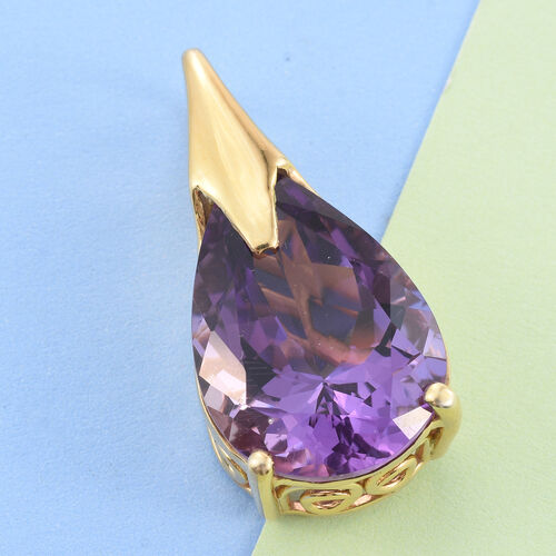 Lusaka Amethyst (Pear) Pendant in 14K Gold Overlay Sterling Silver 18.750 Ct.
