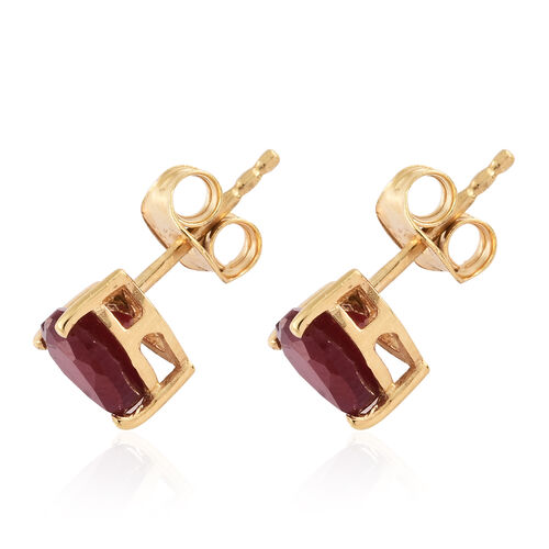 African Ruby 1.75 Ct Heart Silver Stud Earrings in (with Push Back) in Gold Overlay