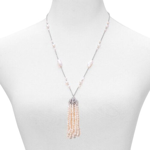 Fresh Water White Pearl Necklace (Size 24) in Stainless Steel