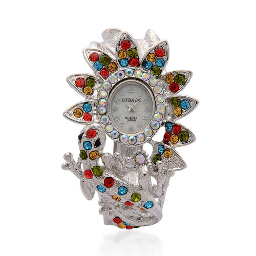STRADA Japanese Movement White Dial Multi Colour Austrian Crystal Watch in Silver Tone with Lizard Bangle Strap