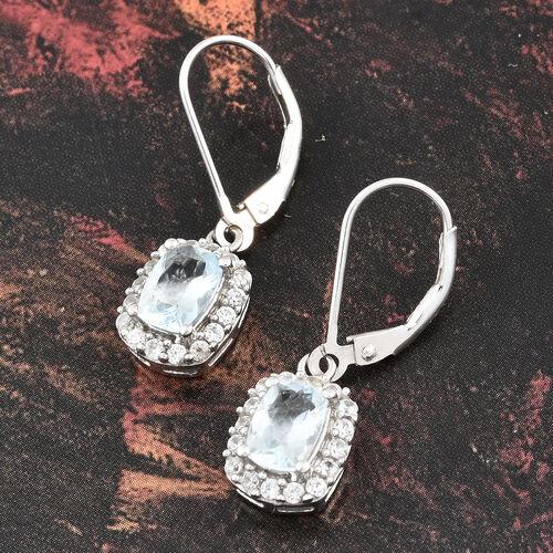 Espirito Santo Aquamarine (Cush), Natural Cambodian Zircon Lever Back Earrings in Platinum Overlay Sterling Silver 2.750 Ct.