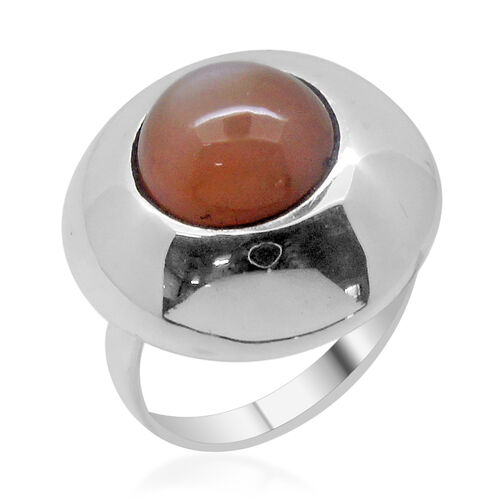 Royal Bali Collection Peach Moonstone (Rnd) Adjustable Ring in Sterling Silver 5.490 Ct.