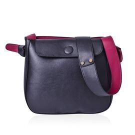 Penny Black and Burgundy Colour Shoulder Bag with Shoulder Strap (Size 27x24x8 Cm)